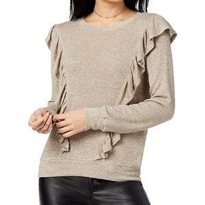 Lily Black Juniors Ruffled Metallic Knit Sweater